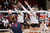 STANFORD, CA - October 14, 2016: Inky Ajanaku,Kathryn Plummer at Maples Pavilion. The Arizona Wildcats defeated the Cardinal 3-1.