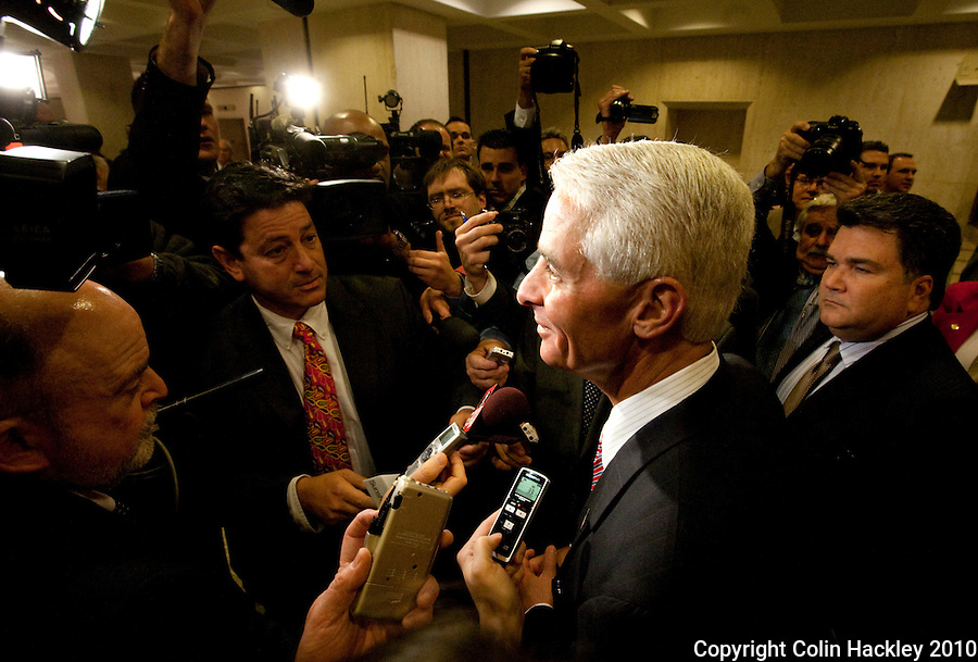 TALLAHASSEE, FLA. 3/2/10-OPENING DAY CH57-Gov. Charlie Crist talks to the media after his final State of the State speech on the opening day of the legislative session, Tuesday at the Capitol in Tallahassee...COLIN HACKLEY PHOTO