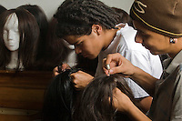 Women work with wigs for cancer patients before being donated as a commitment to actively fight against cancer in Medellin, Colombia, May 25, 2012.  Colombia celebrated on 31 January, 7, 14 and 21 February some days of donating hair in Beauty Centres Fundayama ALQVIMIA and foundation (Foundation for support and support people with breast cancer), it received 300 donations of hair with which they made 200 wigs  Photo by Fredy Amariles/View