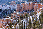Bryce Canyon National Park, Utah; views from Farview Point, elevation 8819 ft, with snow in winter