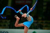 "Mariya Mateva of Bulgaria (junior) balances in ring position with ribbon at 2008 World Cup Kiev, ""Deriugina Cup"" in Kiev, Ukraine on March 22, 2008."