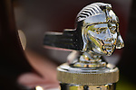 Old Westbury, New York, U.S. - June 1, 2014 - Closeup of Raa radiator cap hood ornament of a one-of-a-kind 1926 Stutz, the Winner of the Best in Show for Post War, and owned by STEVEN GITTELMAN of HUNTINGTON, at the Antique and Collectible Auto Show held on the historic grounds of elegant Old Westbury Gardens in Long Island, and sponsored by Greater New York Region AACA Antique Automobile Club of America. This unique car was custom built for Grace and General Cornelius Vanderbilt III, and is the only known one with a Victoria Top.