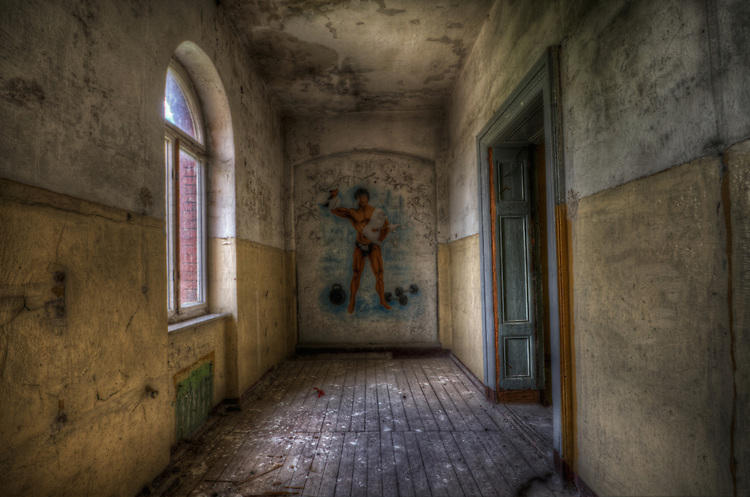 Frankfurt Oder barracks.<br /> Soviet painting of a muscle man.