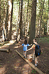 An eight year old boy and six year old girl (brother and sister) balance along a log near a trail in Bonner County, Idaho.