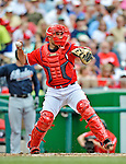 22 July 2012: Washington Nationals catcher Sandy Leon in action against the Atlanta Braves at Nationals Park in Washington, DC. The Nationals defeated the Braves 9-2 to split their 4-game weekend series. Mandatory Credit: Ed Wolfstein Photo
