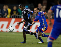 Marvin Chavez of Earthquakes controls the ball away from Nick LaBrocca of Rapids during the game at Buck Shaw Stadium in Santa Clara, California on May 18th, 2013.  San Jose Earthquakes tied Colorado Rapids, 1-1.