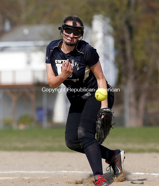 Torrington, CT- 04 May 2015-050415CM09-  Wolcott Tech's Emily Andrews delivers a pitch against Kaynor Tech during their matchup in Torrington on Monday.  Kaynor won,13-11.   Christopher Massa Republican-American