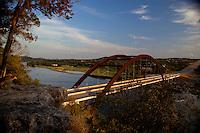 The 360 Bridge (Pennybacker Bridge) a favorite Austin attraction amid  hills and lake austin, Texas, USA