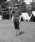 Gettysburg PA: View of Brady Stewart getting everyone up and ready to go while camping at Gettysburg. Brady Stewart was in Gettysburg with the Pittsburgh-area Boy's Brigade. They were in Gettysburg for 40th anniversary of the battle of Gettysburg. The Boy's Brigade was a church-based youth organization started in the late 1800s in Scotland - 1903