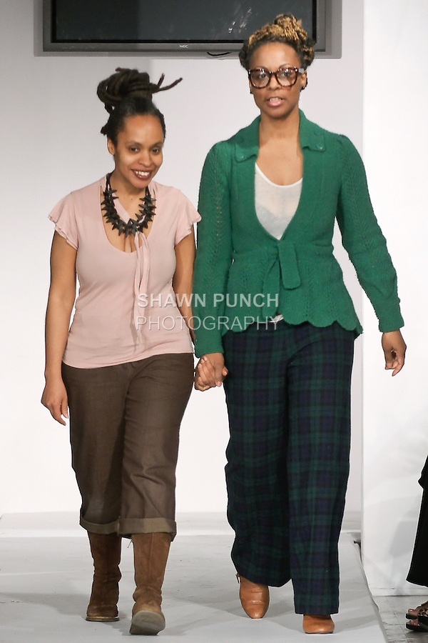Fashion designers Iliana Quander and Bridgett Artise walks runway at the close of their SMARTER Clothing Fall 2012 collection fashion shows, during BK Fashion Weekend Fall Winter 2012.