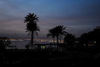 Aqaba is Jordan's only coastal city. Eilat in Israel in the bcakground.
