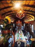 BNPS.co.uk (01202 558833)<br /> Pic: StationKitchen/BNPS<br /> <br /> The interior of the WW1 train carriage which has now been turned in to a restaurant.<br /> <br /> A First World War ambulance train carriage that carried wounded soldiers to safety from the front line has been given a new lease of life as a quirky fine dining restaurant.<br /> <br /> Ross Moore and his wife Claire have added the dining carriage to their restaurant Station Kitchen, which they run from an old railway station in West Bay, Dorset, and it is proving a big hit with foodies travelling from all over the country - and the world - to eat there.<br /> <br /> The business started with Claire selling cakes and scones at Bridport Market six years ago, but grew into an award-winning catering company, Sausage and Pear.<br /> <br /> The couple set up their quirky restaurant in November 2015 and added the new dining carriage in October last year, which is already proving so popular with their patrons they have turned the old dining room into a lounge and cocktail bar.