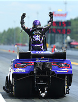 Mar 20, 2016; Gainesville, FL, USA; NHRA funny car driver Jack Beckman reacts after this car broke during the Gatornationals at Auto Plus Raceway at Gainesville. Mandatory Credit: Mark J. Rebilas-USA TODAY Sports