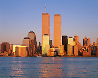 NYC, NY, Golden Twin Towers, World Trade Center, designed by Minoru Yamasaki, International Style II, sunset