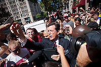 Comedian Stephen Colbert celebrates his SuperPAC outside Federal Election Commission headquarters on Thursday, June 30, 2011 in Washington.  (Photo by Jay Westcott/Politico)