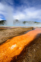 Grand Prismatic Spring, part of the Midway Geyser Basin in Yellowstone National Park.The Grand Prismatic Spring is the largest hot spring in the United States, and the third largest in the world.<br />