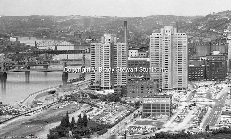 Pittsburgh PA - View of the ongoing construction of Gateway Center from Mount Washington.