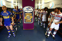 PICTURE BY VAUGHN RIDLEY/SWPIX.COM - Rugby League - Super League - Magic Weekend - Leeds v Wakefield - Murrayfield, Edinburgh, Scotland  - 01-02/05/10...Copyright - Simon Wilkinson - 07811267706...Leeds Kevin Sinfield and Wakefield's Jason Demetriou prepare to lead their teams out of the tunnel and onto the pitch at Murrayfield.