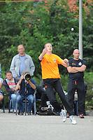 KAATSEN: FRANEKER: Sportcomplex 'De Trije', 01-09-2012, Wereldkampioenschap Kaatsen, Llargues, Finale Team Nederland - Team Colombia, Eindstand 10-1, opslag Marten Feenstra, ©foto Martin de Jong