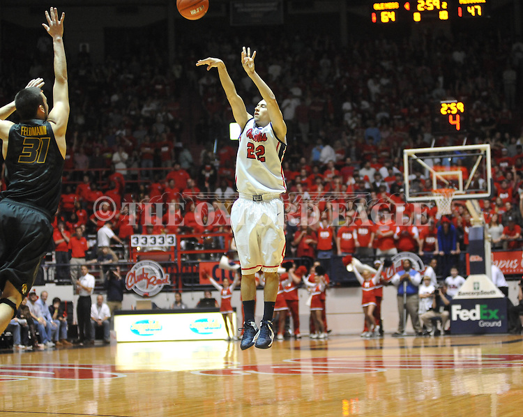 "Ole Miss' Marshall Henderson (22) vs. Missouri at the C.M. ""Tad"" Smith Coliseum on Saturday, January 12, 2013. Ole Miss defeated #10 ranked Missouri 64-49."