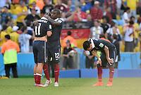 FUSSBALL WM 2014                VIERTELFINALE Frankreich - Deutschland           04.07.2014 Antoine Griezmann, Rio Mavuba und Mathieu Valbuena (v.l., alle Frankreich) sind nach dem Abpfiff enttaeuscht