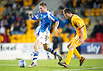 St Johnstone v Motherwell...03.11.12      SPL.Steven MacLean tracked by Adam Cummings.Picture by Graeme Hart..Copyright Perthshire Picture Agency.Tel: 01738 623350  Mobile: 07990 594431