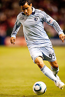 Sporting Kansas City DP forward Omar Bravo (99) moving with the ball. Sporting KC defeated CD Chivas USA 3-2 at Home Depot Center stadium in Carson, California on Saturday March 19, 2011...
