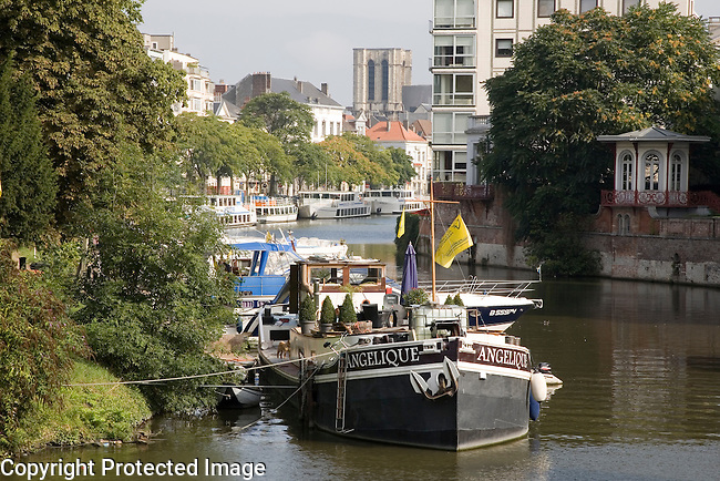 Boats on Leie Canal, Ghent, Belgium, Europe