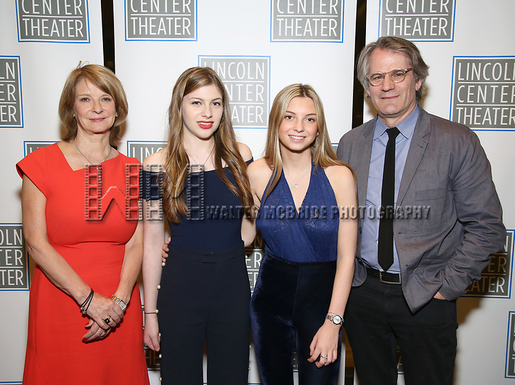 Mona Juul and Bartlett Sher with their daughters<br />  attends the Opening Night Performance press reception for the Lincoln Center Theater production of 'Oslo' at the Vivian Beaumont Theater on April 13, 2017 in New York City.