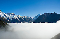 Mount cook above valley of clouds