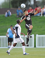DC United defender Rodrigo Brasesco (3) heads the ball.  The New England Revolution defeated DC United 3-2 in US Open Cup match , at the Maryland SoccerPlex, Tuesday  April 26, 2011.