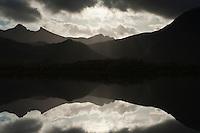 Mountain reflection in Lake, Lofoten Islands, Norway