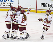 The Eagles celebrate Blake Bolden's (BC - 10) goal which made it 3-1 BC and stood as the gamewinner. - The Boston College Eagles defeated the visiting Brown University Bears 5-2 on Sunday, October 24, 2010, at Conte Forum in Chestnut Hill, Massachusetts.
