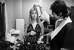 Paul and Linda McCartney  Wings Tour 1975. Paul and Linda in their  dressing room, Liverpool, England..