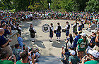 Aug. 31, 2013; The Notre Dame Bagpipe Band performs in front of the steps of the Main Building prior to the game against Temple. Photo by Barbara Johnston/University of Notre Dame