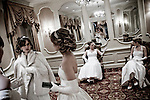 Debutantes waiting for their escorts before the opening of the ball...The Viennese Opera Ball in New York City is the biggest and most famous of New York's charity balls. Held yearly at the Waldorf Astoria hotel and opened by debutantes and their escorts.