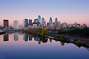 The Philadelphia skyline at dusk.