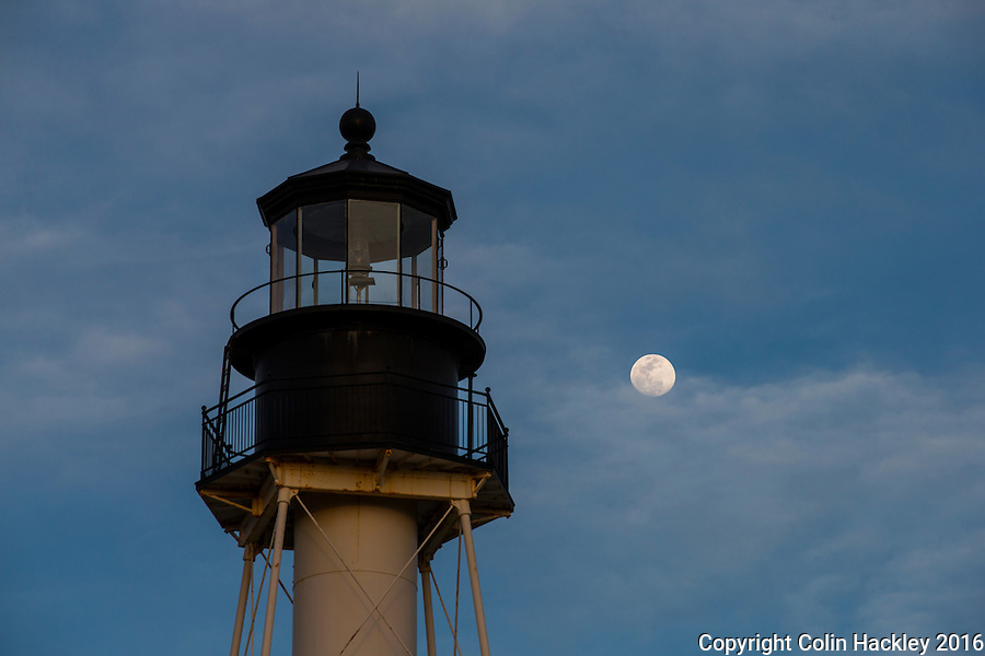 PORT ST. JOE, FLA. 4/19/16-A near-full moon rises behind The Cape San Blas Lighthouse now located in George Core Park in Port St. Joe, Fla. The light was moved to the park in 2014.<br /> <br /> COLIN HACKLEY PHOTO