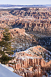 Bryce Canyon National Park, Utah; sunrise views of Bryce Amphitheater with snow from Bryce Point in winter