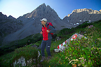 Adlerweg, Tirol, Austria, August 2005. Harry on his way to the dremelscharte (pass) The Adlerweg (eagles trail) is the new long distance hiking trail in Austria. The Adlerweg connects existing paths throughout Tirol, in the shape of an eagle, Tirol's provincial symbol. Photo by Frits Meyst/Adventure4ever.com