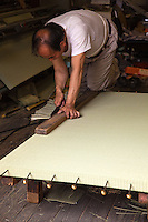Tatami originally means &quot;folded and piled&quot; and are a traditional type of Japanese flooring. Traditionally made of rice straw to form the core though nowadays sometimes the core is composed of compressed wood chips  or polystyrene foam, with a covering of woven rush straw.  Usually, on the long sides, they have edging  of brocade.