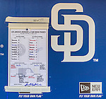 23 June 2013: The San Diego Padres Game Roster Sheet is posted in the dugout prior to a game against the Los Angeles Dodgers at Petco Park in San Diego, California. The Dodgers defeated the Padres 3-1, splitting their 4-game Divisional Series at 2-2. Mandatory Credit: Ed Wolfstein Photo *** RAW (NEF) Image File Available ***