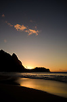 Sunset from Ha'ena Beach, Kauai, Hawaii