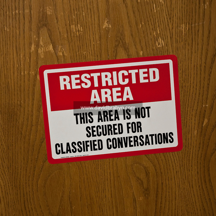 "View of a sign reading ""Restricted area. The area is not secured for classified conversations"" at the FBI National Academy in Quantico, VA, USA, 12 May 2009."