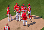 24 May 2015: Washington Nationals starting pitcher Gio Gonzalez hands the ball over to Manager Matt Williams on the mound during a game against the Philadelphia Phillies at Nationals Park in Washington, DC. Gonzalez notched his 4th win of the season as the Nationals defeated the Phillies 4-1 to take the rubber game of their 3-game weekend series. Mandatory Credit: Ed Wolfstein Photo *** RAW (NEF) Image File Available ***