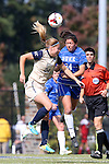 27 October 2013: Duke's Mollie Pathman (right) and Pittsburgh's Ella Vanhanen (FIN) (left) challenge for a header. The Duke University Blue Devils hosted the Pittsburgh University Panthers at Koskinen Stadium in Durham, NC in a 2013 NCAA Division I Women's Soccer match. Duke won the game 6-3.