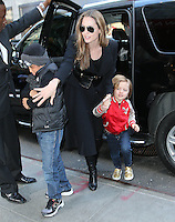 Angelina Jolie goes toy shopping with the kids in New York City