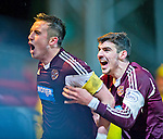 St Johnstone v Hearts.....18.01.14   SPFL<br /> Danny Wilson celebrates scoring Hearts third goal<br /> Picture by Graeme Hart.<br /> Copyright Perthshire Picture Agency<br /> Tel: 01738 623350  Mobile: 07990 594431