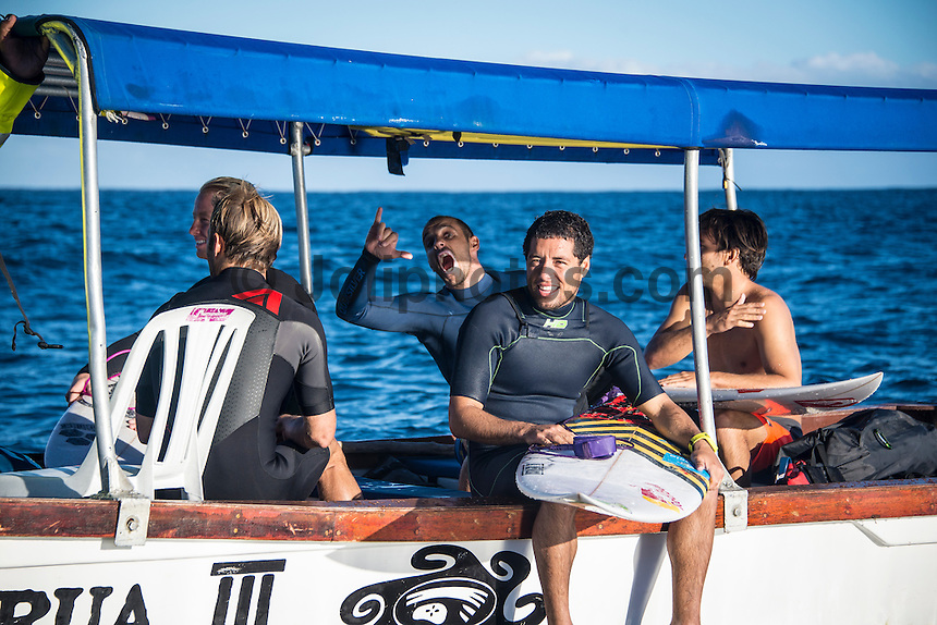 Namotu Island Resort, Namotu, Fiji. (Monday June 2, 2014) Tiago Pires (PRT) and Adriano de Souza (BRA) – The 2014 Fiji Pro was called on this morning with the swell running in the 3' plus range. The start was delayed till 10.30 am because of the 9.30 high tide. . Photo: joliphotos.com