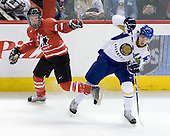 Ryan Ellis (Canada - 8), Konstantin Savenkov (Kazakhstan - 26) - Canada defeated Kazakhstan 15-0 on Sunday, December 28, 2008, at Scotiabank Place in Kanata (Ottawa), Ontario, during the 2009 World Junior Championship.